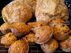 Home-made bread and apple and cinnamon muffins