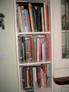 Three shelves of Cookery Books