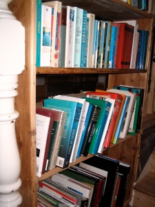 three shelves of books