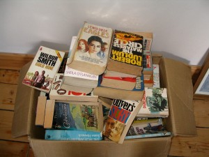 books in cardboard box
