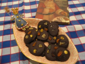 Chocolate Mendiants on pink sweet dish