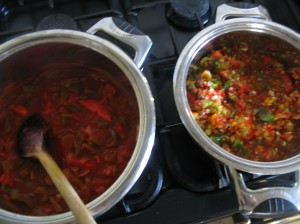 Saucespans with Tomato Sauce & Red Chili Sauce