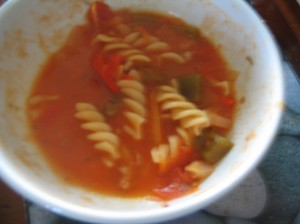 Minestrone soup in white bowl