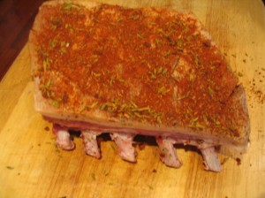 Hungarian spices on rack of pork