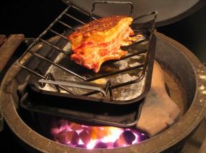 Pork rack on bbq