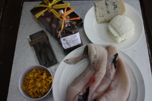 Fish, cheese, gorse petals and chocolate