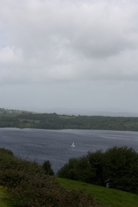A lone sail boat on Lough Derg