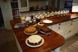 Cakes and cups ready for Hospice morning