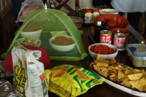 Table laden with Mexican food