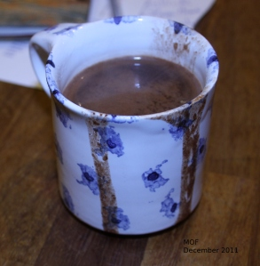 Hot Chocolate in Blue and White Mug