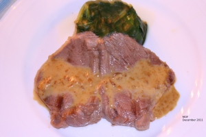 Steak Diane with spinach