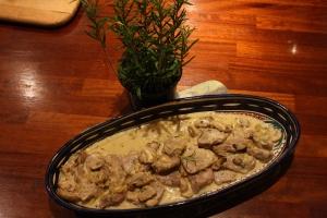 Pork in a Mushroom, Rosemary & Ginger Sauce