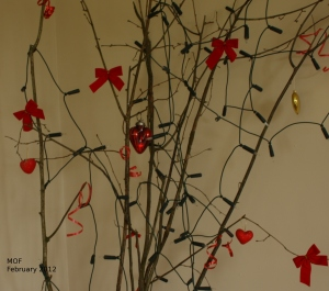 Hearts and bows on twigs