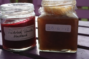Sundried tomato mustard and rhubarb jam