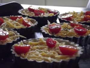 Cheese & Tomato Tarts ready to go into oven