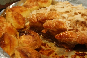 Irish Pork Belly with roast potatoes.