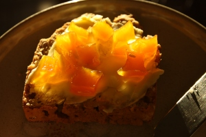Pumpkin Marmalade on home-made brown bread