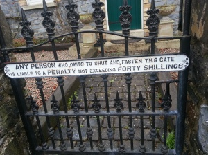 Signage on country gate