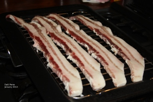 streaky rashers on grill pan