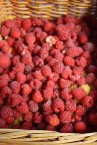 A basket of fresh raspberries