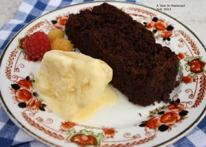 Chocolate Courgette Cake with Home-made Ice-Cream