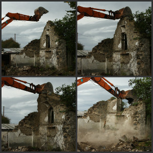 Old cottage being demolished