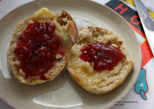 Fresh scone with homemade raspberry jam