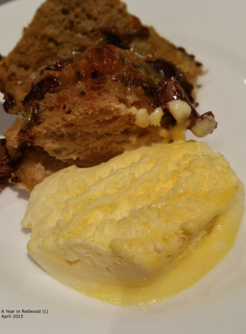 Chocolate Bread & Butter Pudding with home-made ice-cream