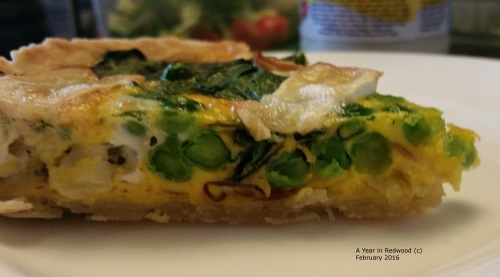 Slice of Spring Greens Quiche