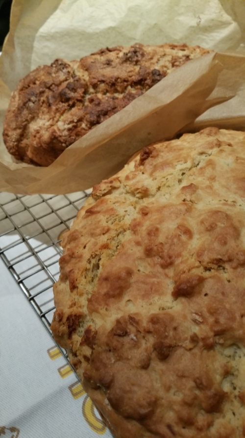Homemade Irish soda bread and banana bread